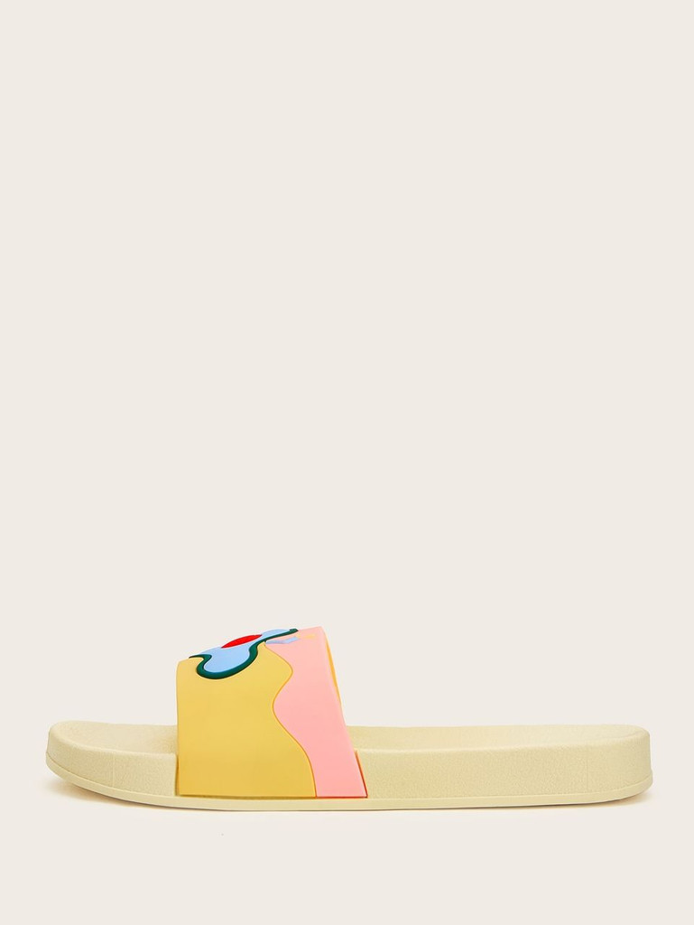 Fruit Detail Open Toe Sliders