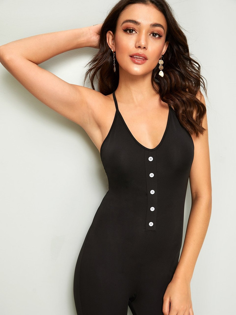 Button Front Criss-cross Backless Unitard Jumpsuit