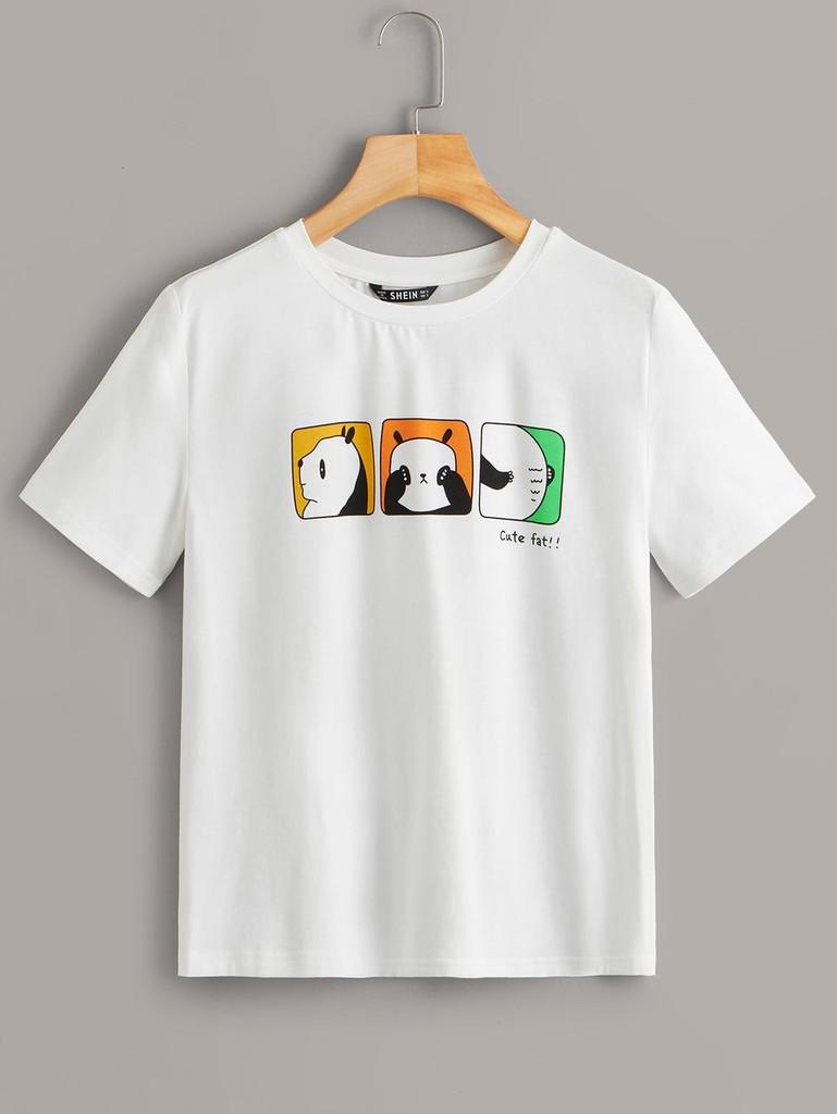 Colorblock Panda Print Tee
