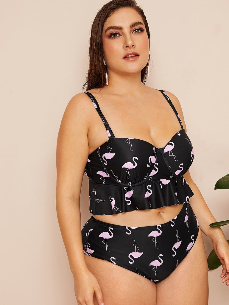Plus Flamingo Flounce Bustier Top With High Waist Tankini