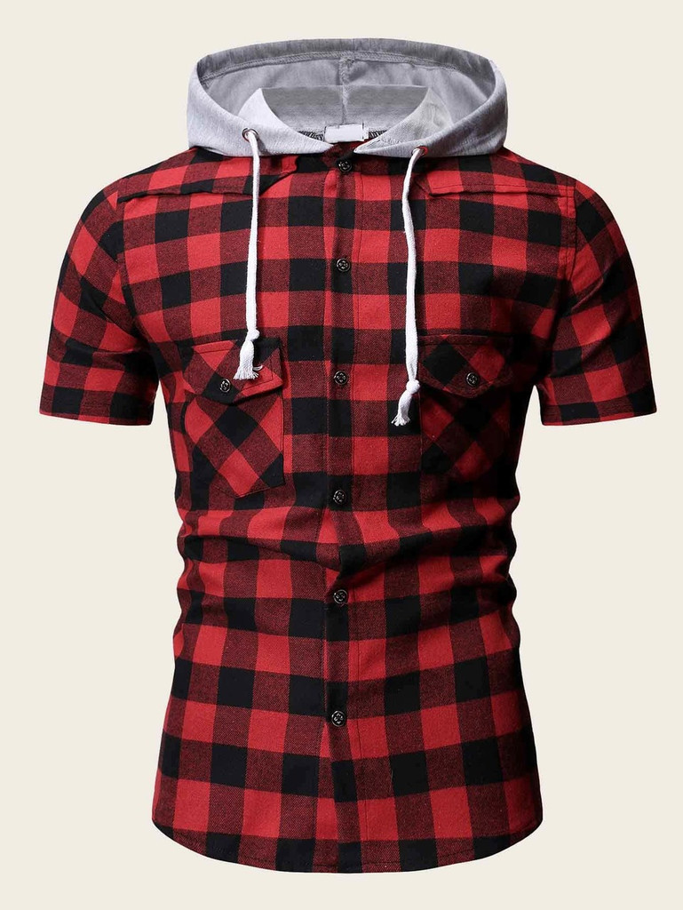 afc69cb7 Men Plaid Drawstring Hooded Shirt Click here to enlarge