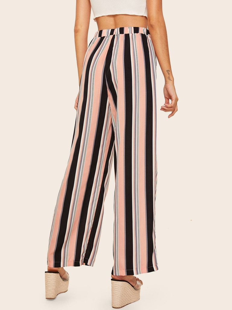 Tie Waist Striped Wide Leg Pants