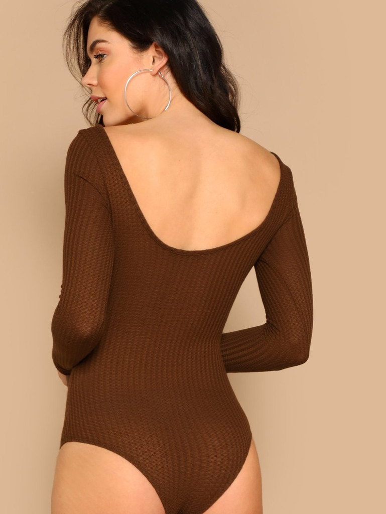 Snap Button Neck Waffle Knit Bodysuit