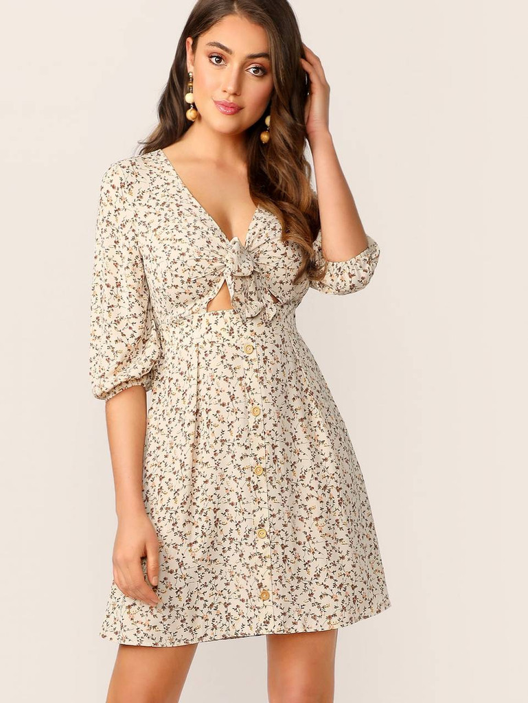 Ditsy Floral Knot Front Peekaboo Dress