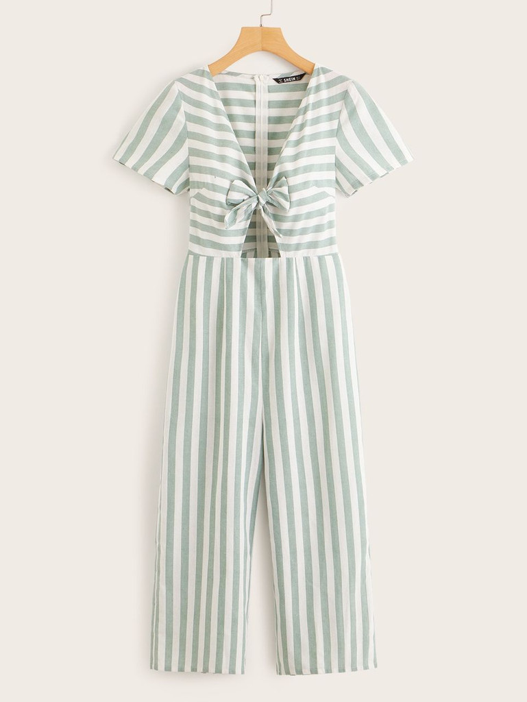 Knot Front Peekaboo Striped Culotte Jumpsuit