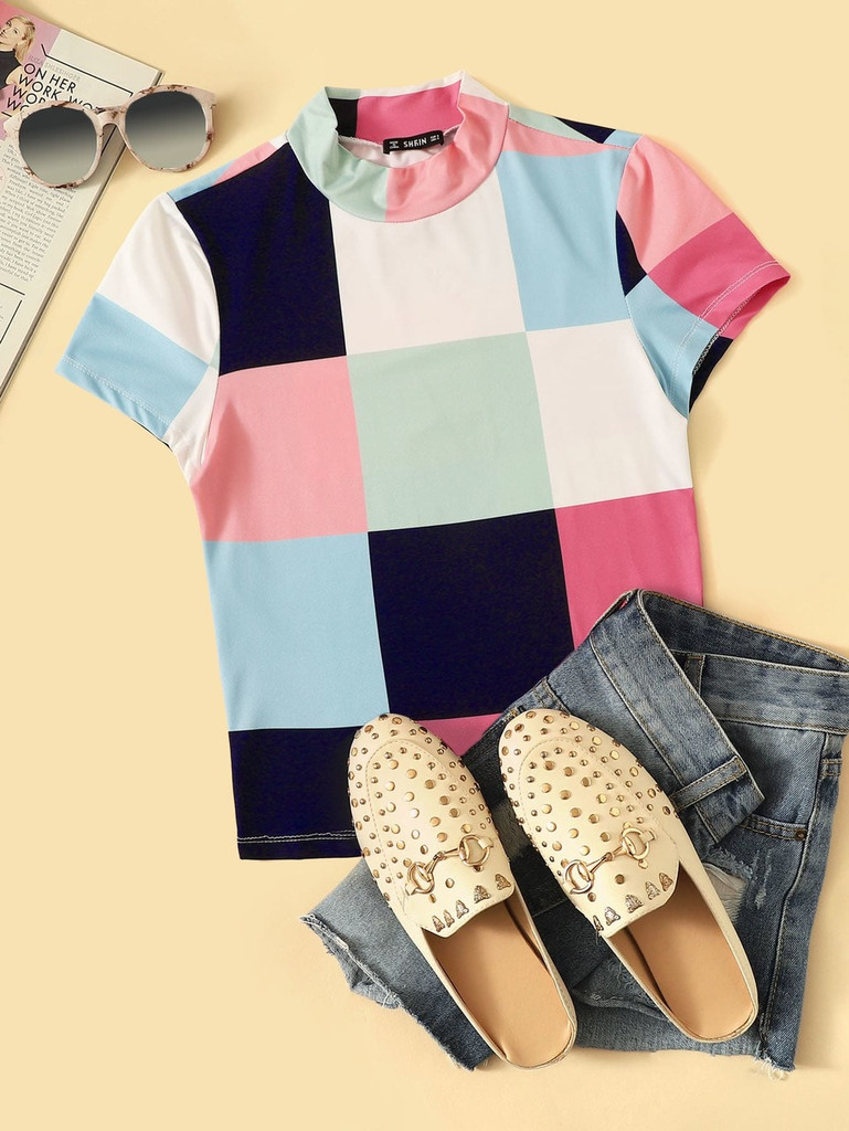 Mock Neck Color Block Fitted Top