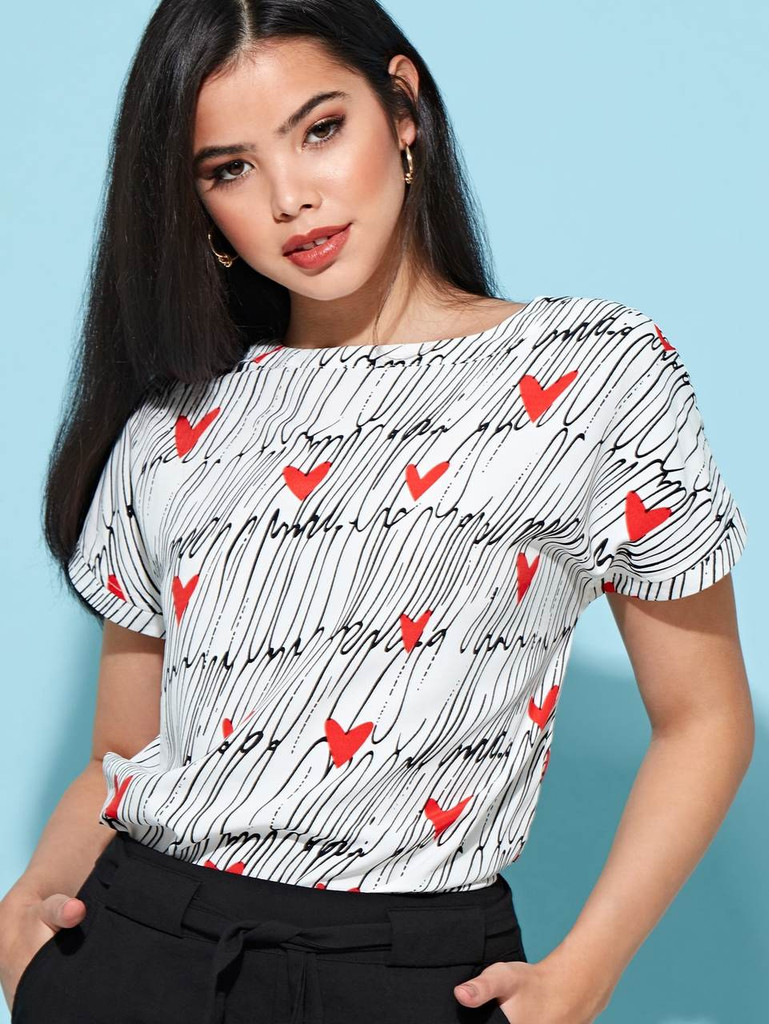 Abstract Heart Print Woven Top
