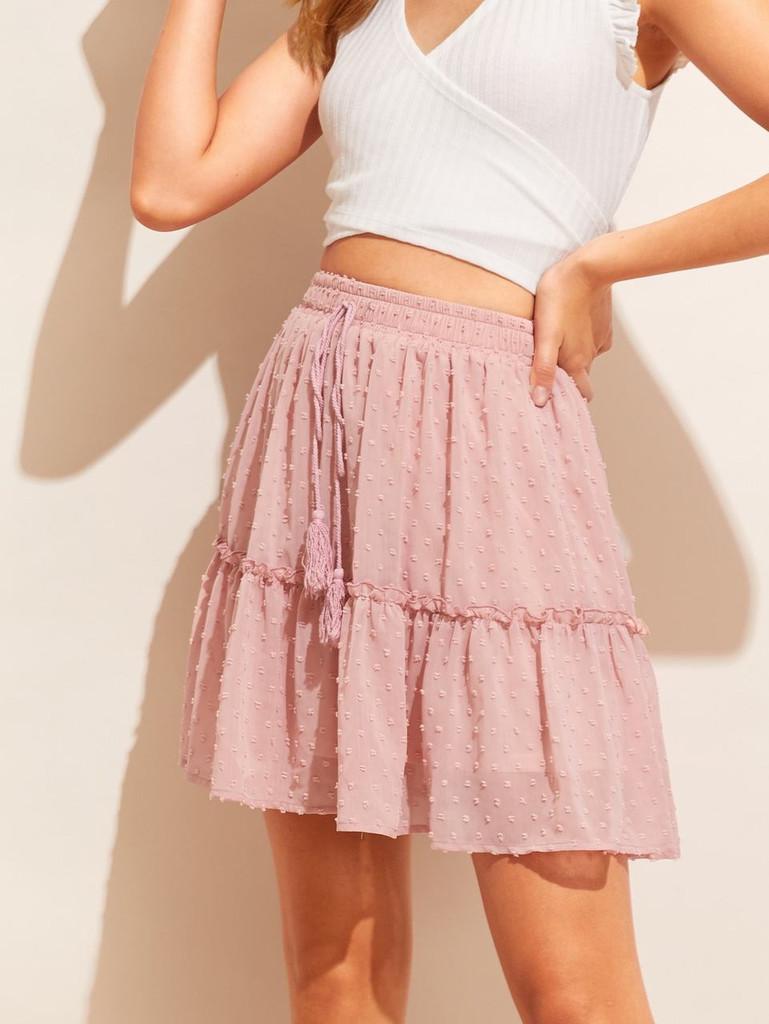Tassel Tie Waist Frilled Swiss Dot Skirt
