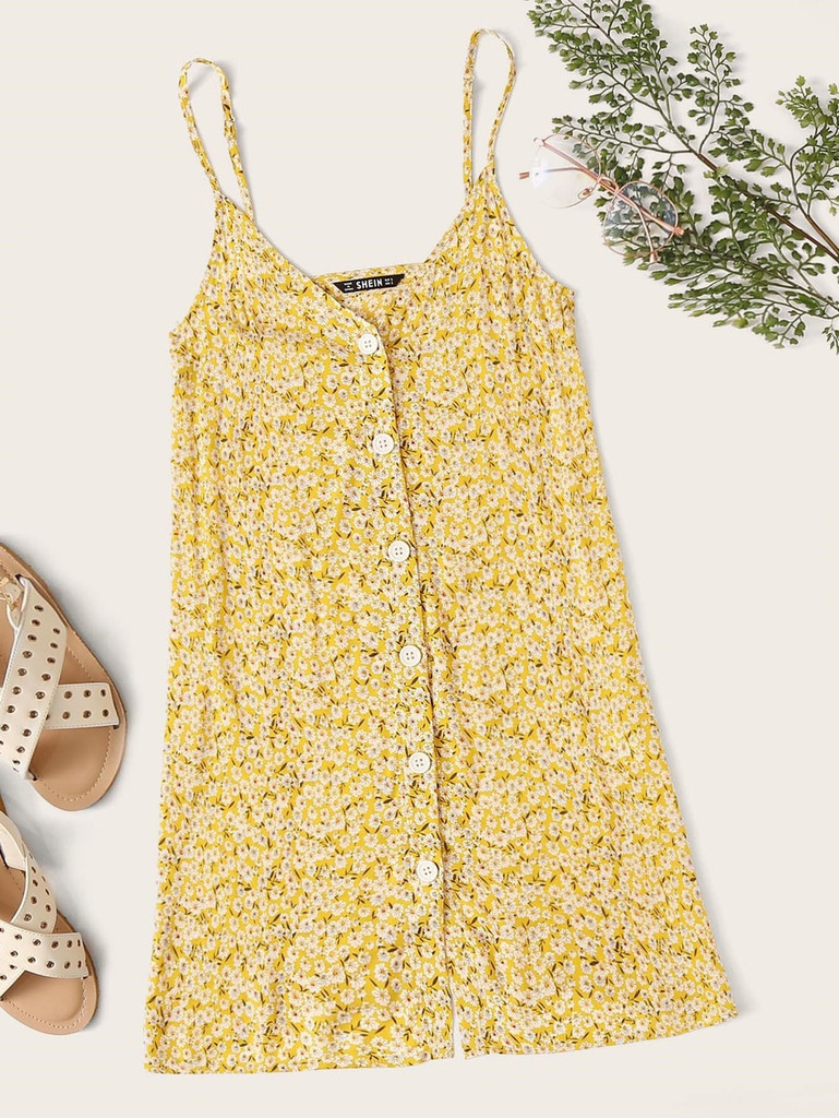 Ditsy Floral Button Up Cami Sundress