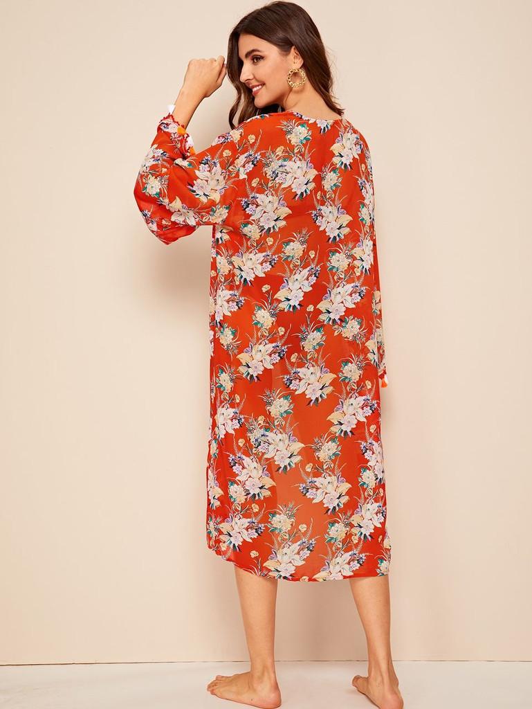 Tassel Trim Botanical Print Longline Kimono