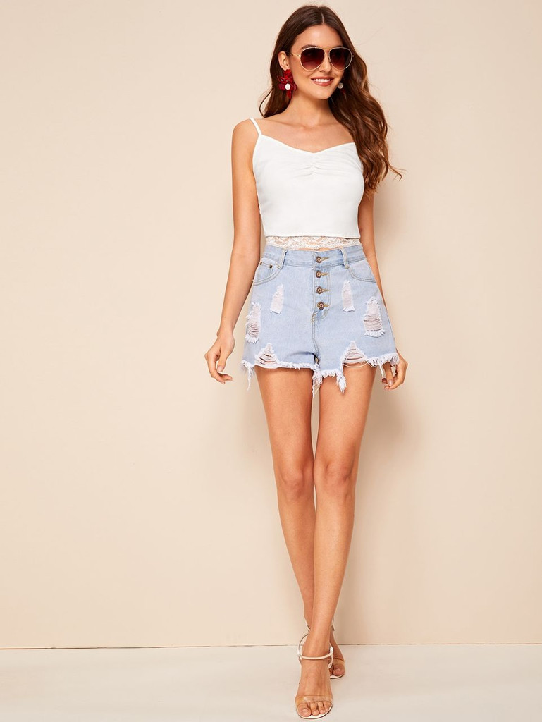 Ruched Front Lace Hem Cami Top
