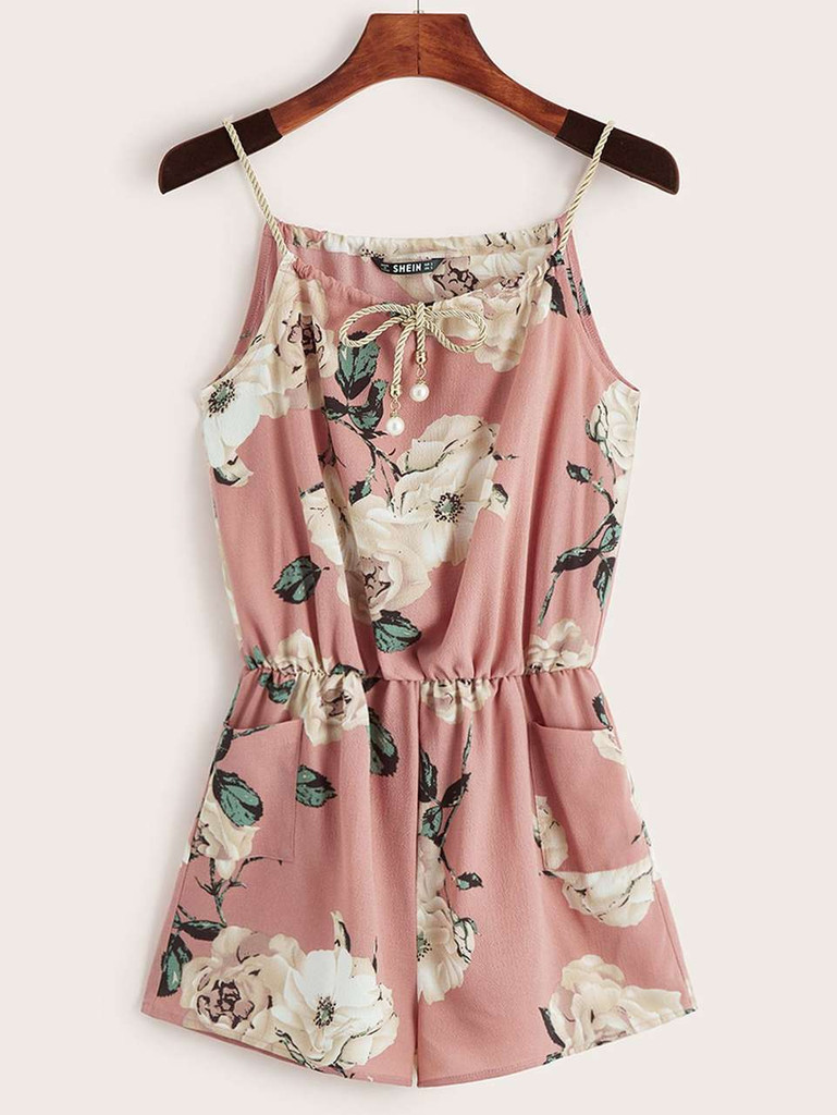 Floral Print Pearls Tie Front Pocket Cami Romper