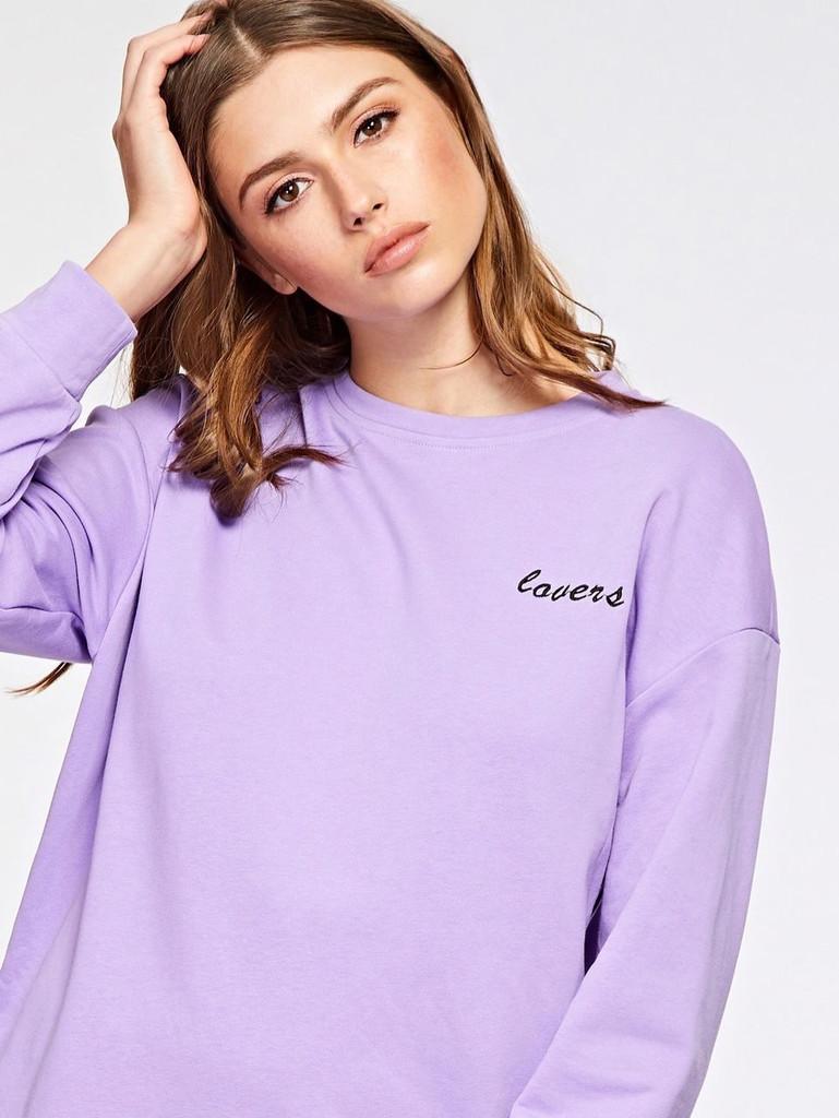 Embroidered Slogan Sweatshirt - Purple, pastel