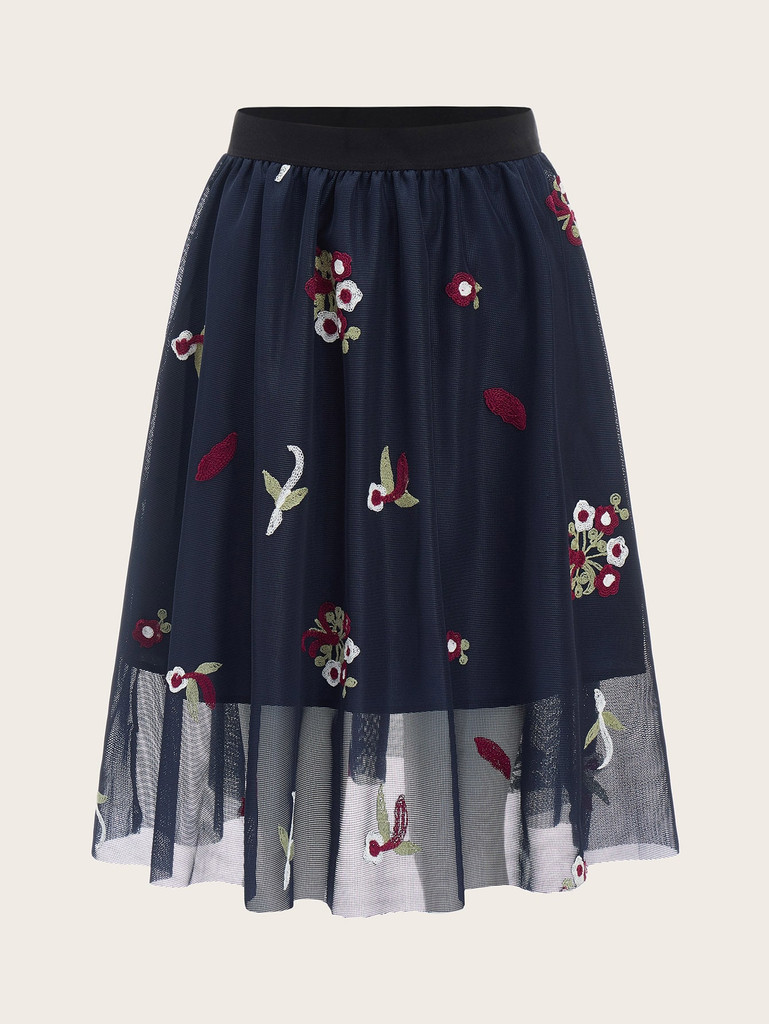 60s Elastic Waist Embroidered Mesh Overlay Skirt