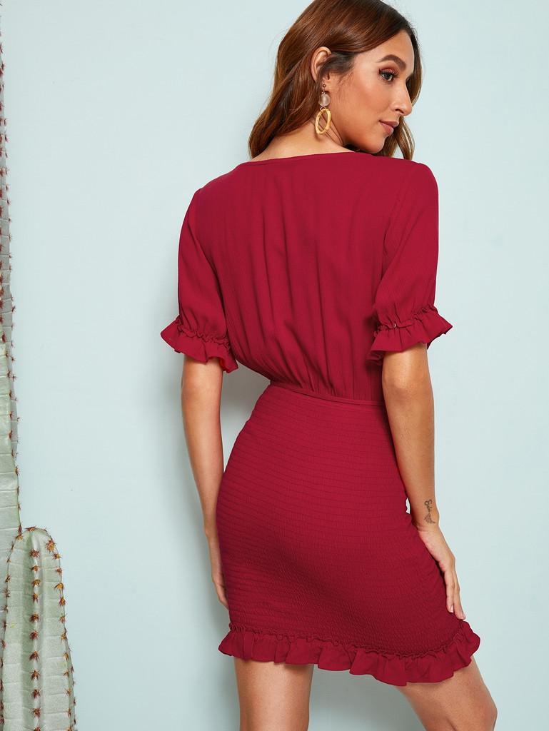 Surplice Neck Frill Trim Shirred Belted Dress