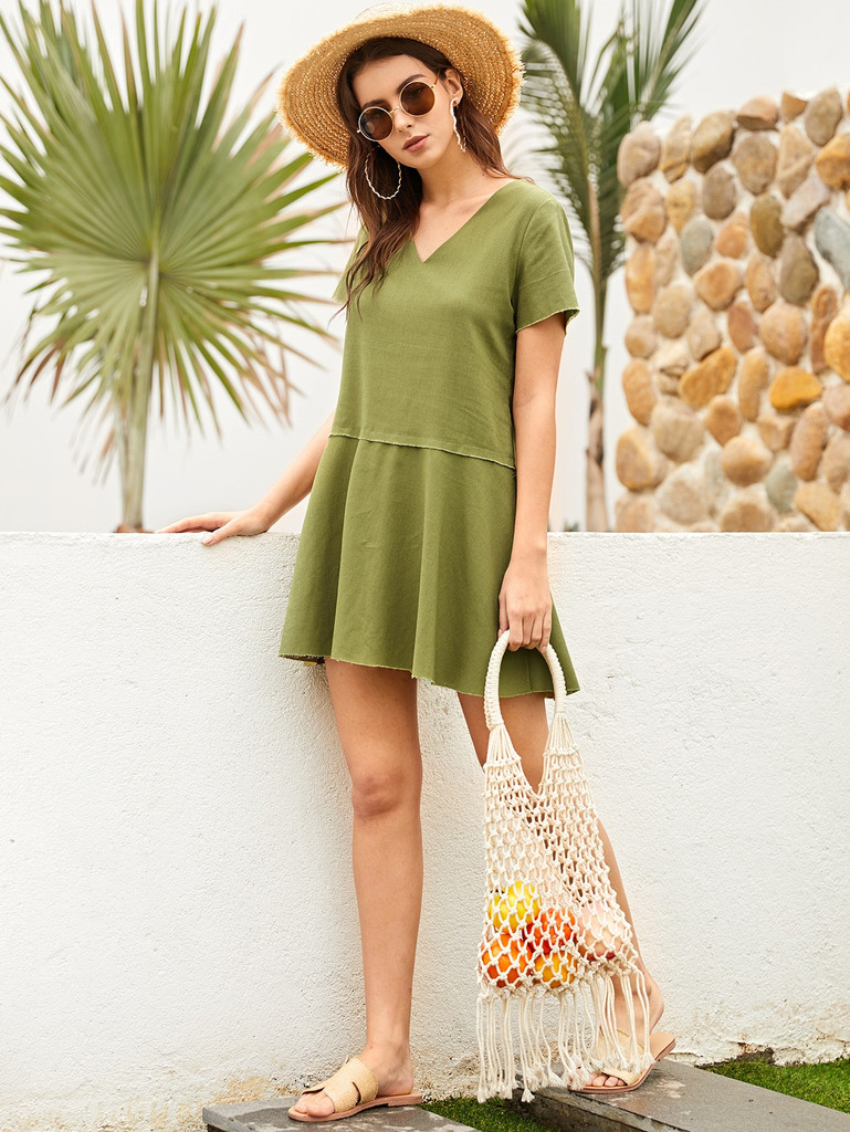 Solid Zip Back Swing Dress