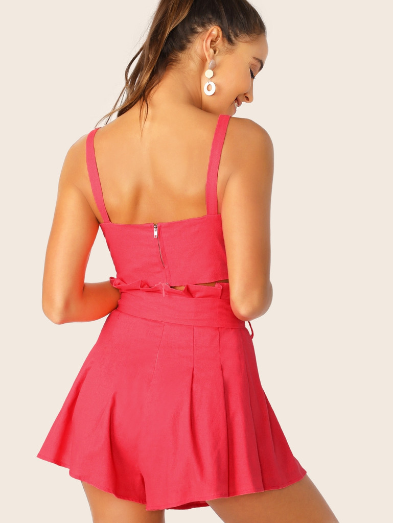 Zip Back Top and Paperbag Waist Pleated Shorts Set