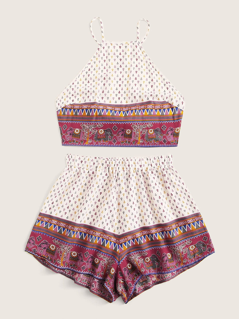 Tribal Print Tied Crisscross Back Top and Shorts Set
