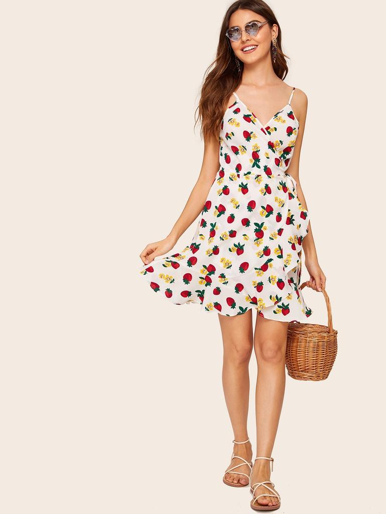 Strawberry & Floral Tie Side Wrap Cami Dress