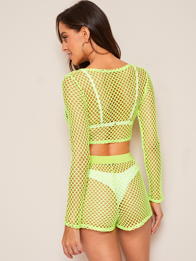 Neon Lime Fishnet Top & Shorts Set Without Lingerie