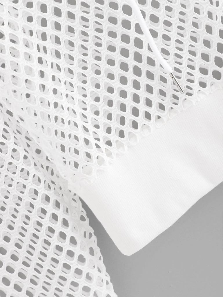 Fishnet Drawstring Hooded Sweatshirt
