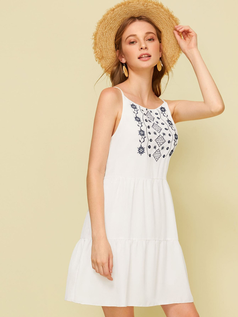 Tribal Embroidered Cami Dress