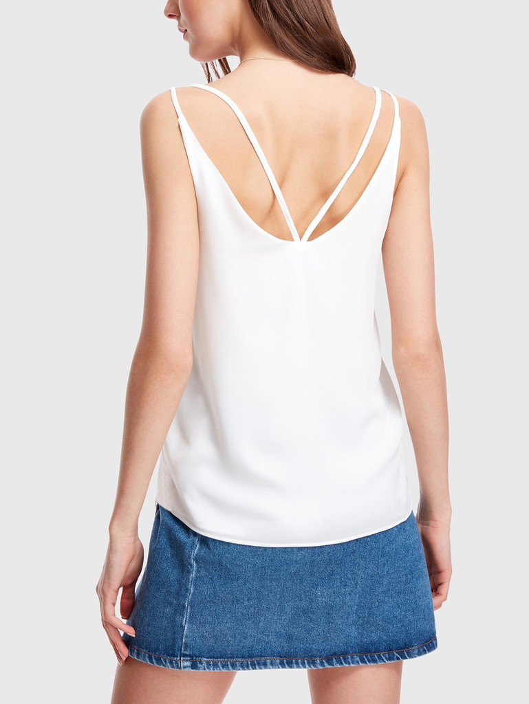 Double V Neck Strappy Top