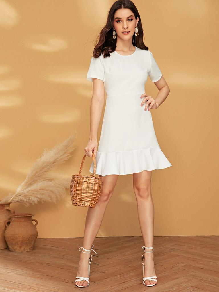 Solid Ruffle Hem Zip Back Dress