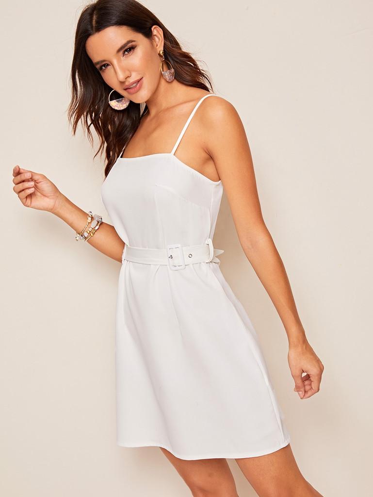 Solid Zip Back Adjustable Belted Slip Dress