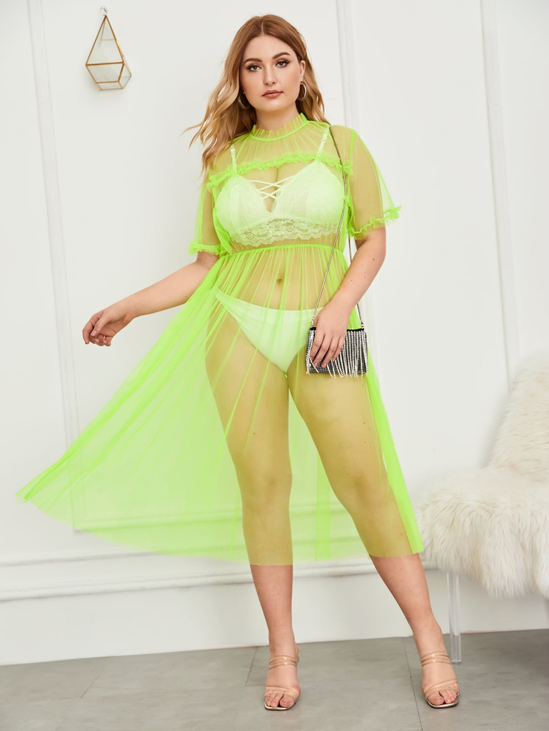 Plus Neon Green Frill Trim Sheer Mesh Dress