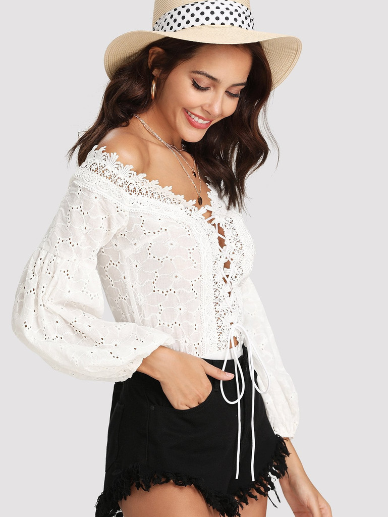 Lace Trim Plunge Neck Eyelet Embroidered Bodysuit
