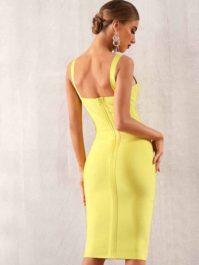 Adyce Solid Zip Back Bandage Slip Dress
