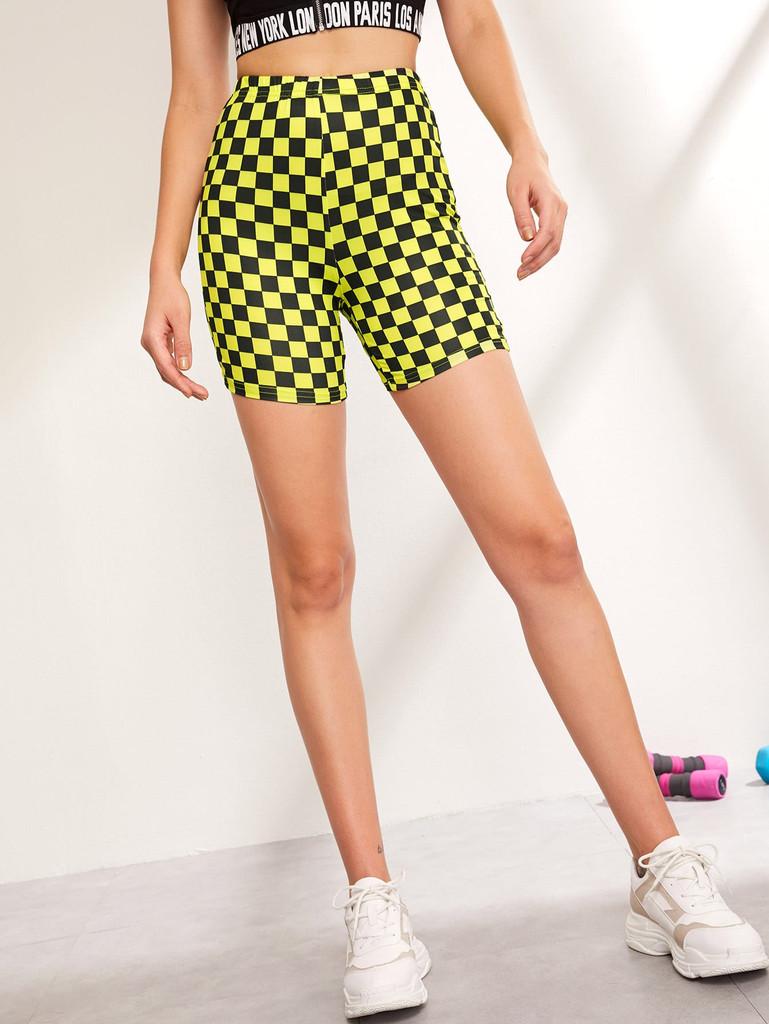 Checked Print Cycling Shorts