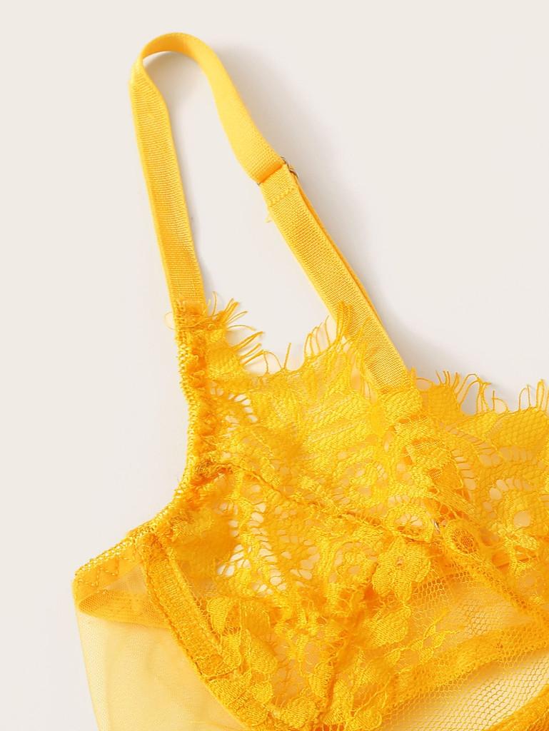 Floral Lace Underwire Garter Lingerie Set