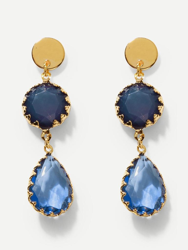Waterdrop Gemstone Drop Earrings 1pair
