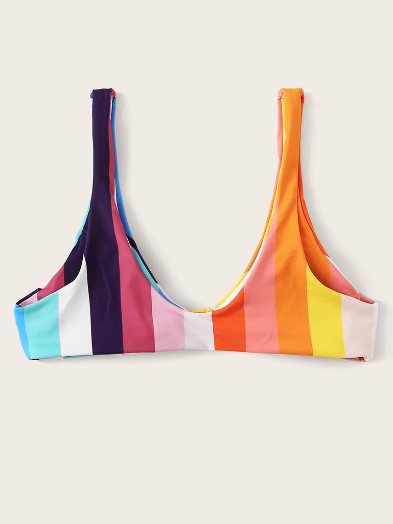Striped Colorblock Knot Front Bikini Top