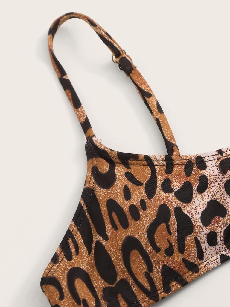 Leopard Spaghetti Strap Top With Tie Side Bikini