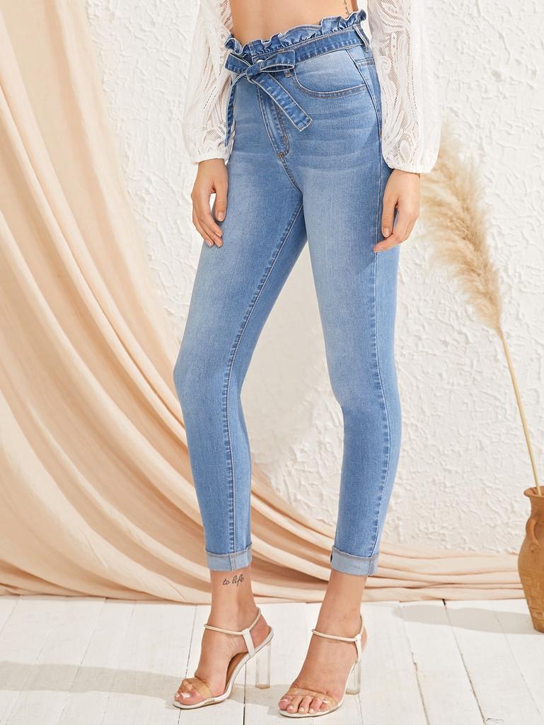 Paperbag Waist Bleach Wash Skinny Jeans