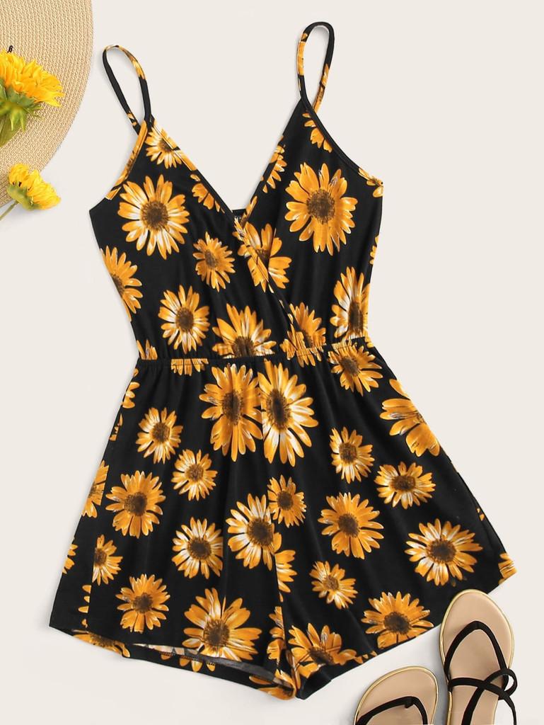 Surplice Neck Sunflower Print Cami Romper