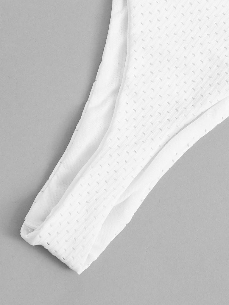 Knot Front Bandeau With High Leg Bikini Set (v. White)