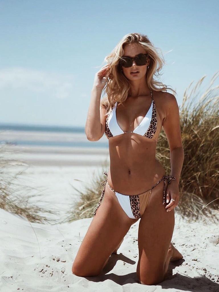 Contrast Leopard Halter Top With Tie Side Bikini Set