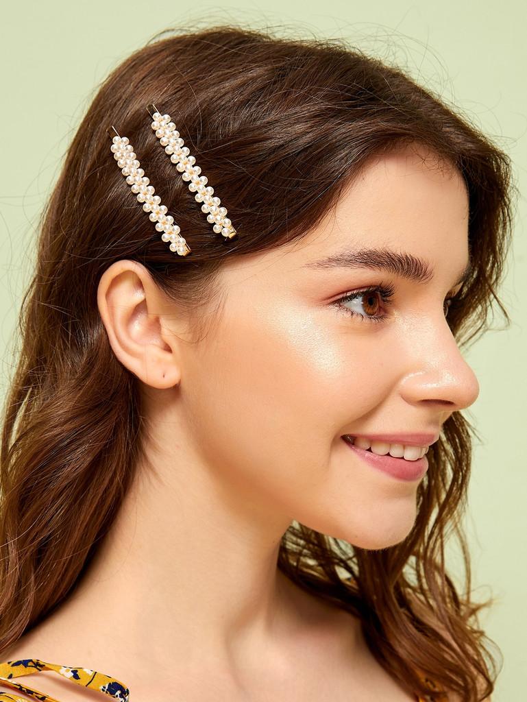 Faux Pearl Decor Hairpin 1pair
