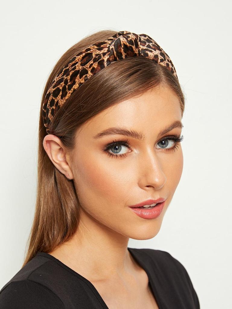 Leopard Pattern Knot Decor Headband