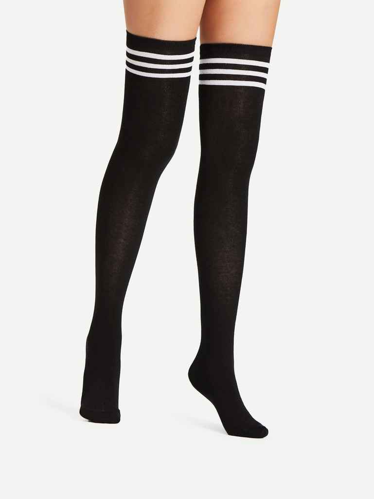 Striped Over The Knee Socks 2pairs (v. Black and white)