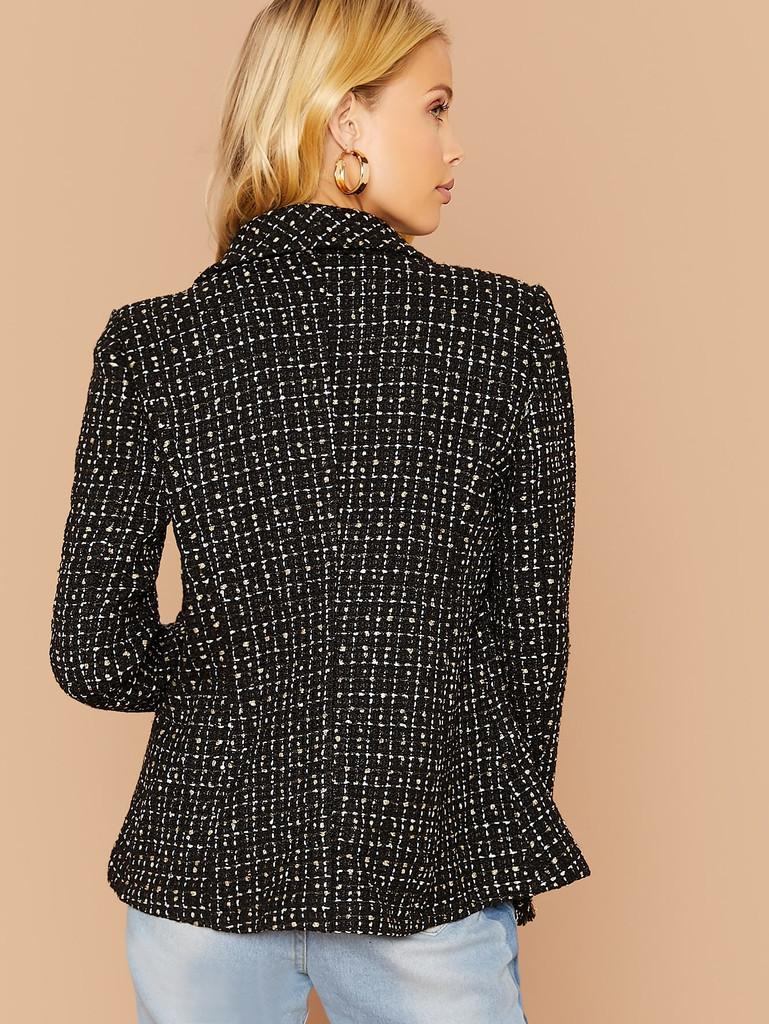 Buttoned Front Raw Trim Tweed Blazer