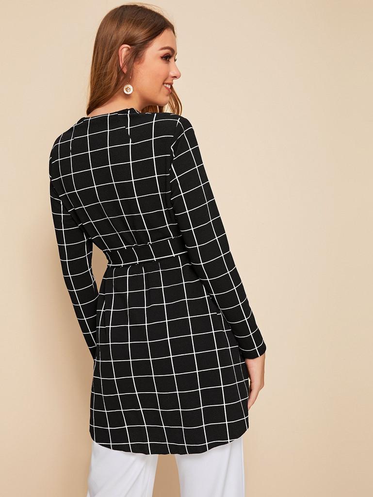 Self Belted Dip Hem Grid Coat