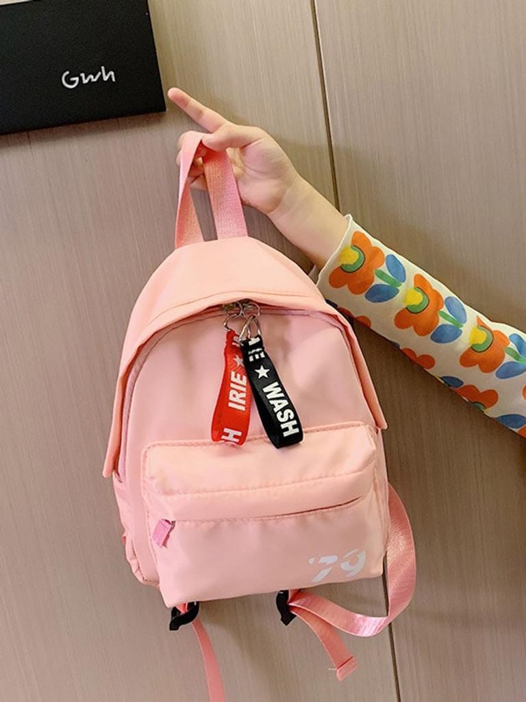 Girls Letter Ribbon Pocket Front Backpack