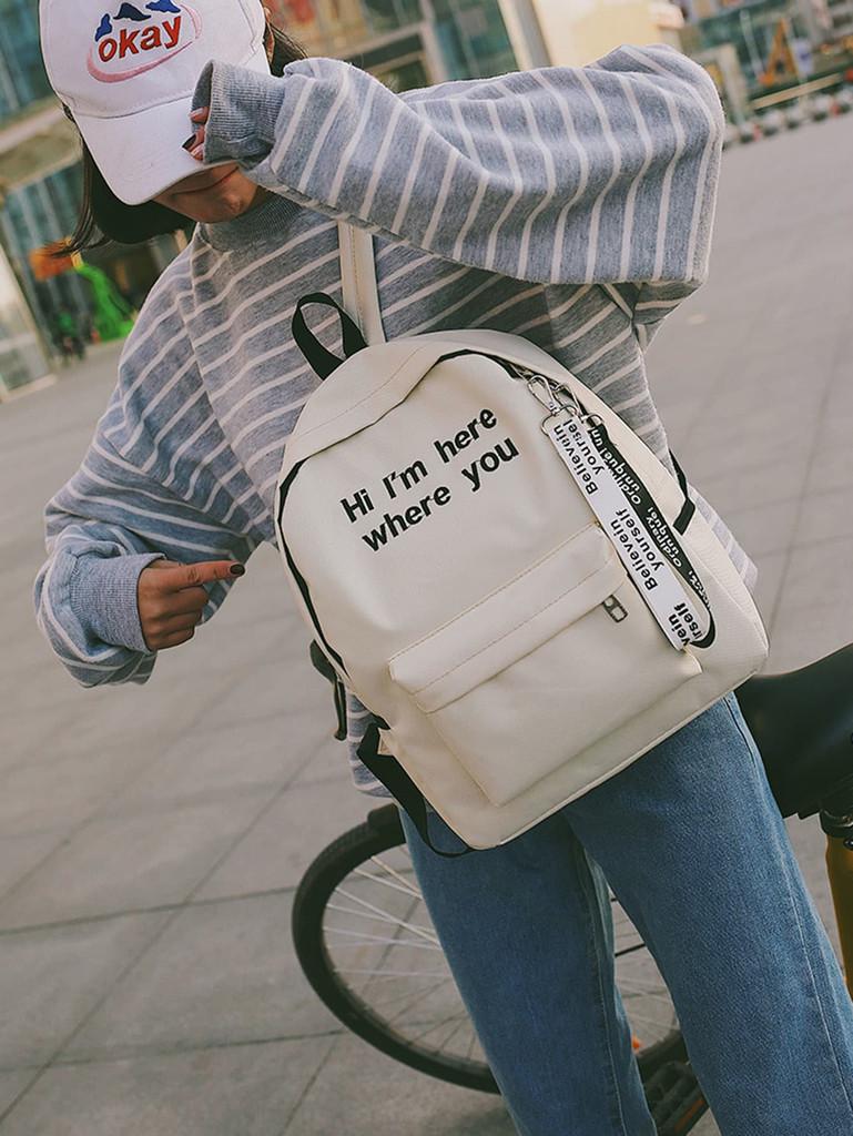 Slogan Ribbon Embroidered Backpack