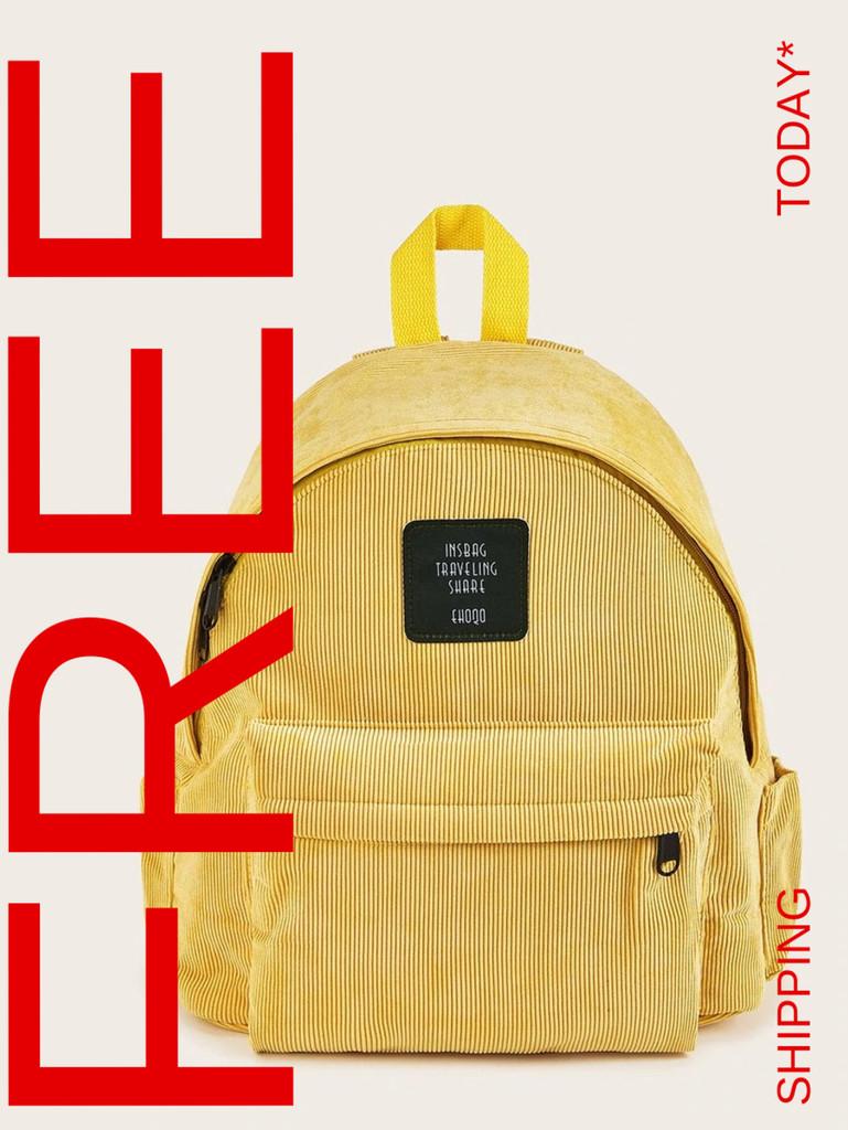 Slogan Patch Decor Corduroy Backpack