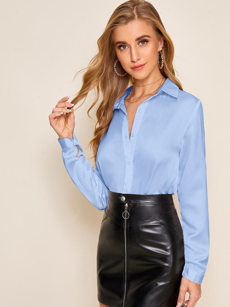 Solid Button Front Satin Blouse